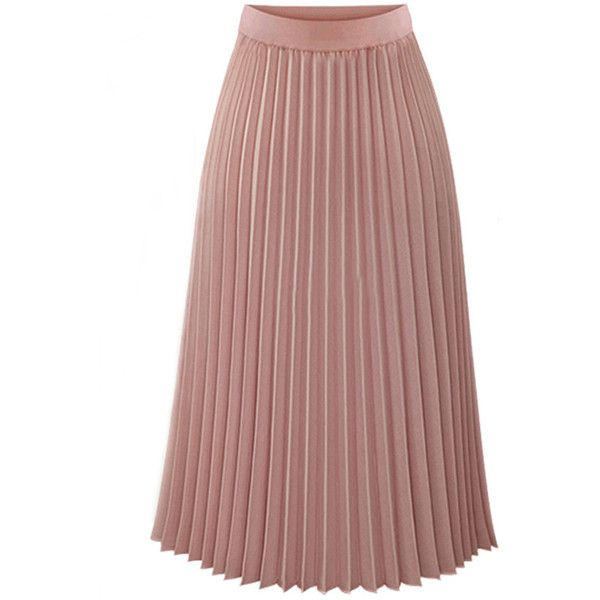 Plain Elastic Waist Chiffon Pleated Maxi Skirt ($34) ❤ liked on Polyvore featuring skirts, elastic waistband skirt, long chiffon maxi skirt, elastic waist maxi skirt, pleated maxi skirt and elastic waist skirt