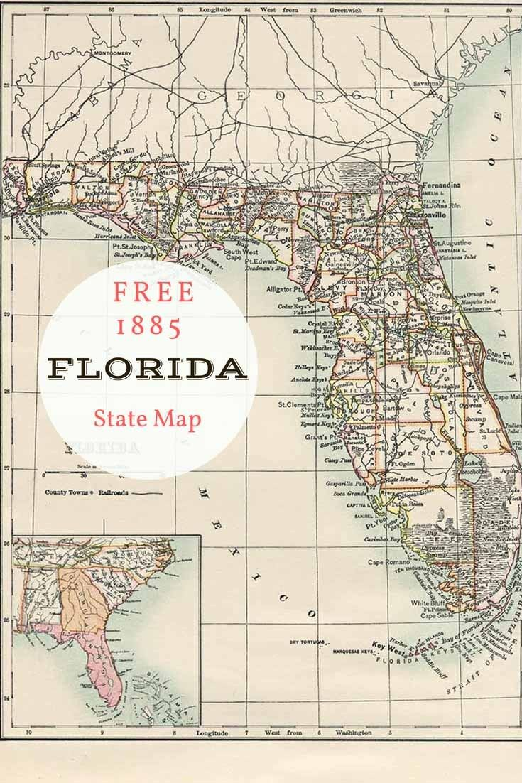 image regarding Printable Map of Florida Cities titled Totally free printable outdated map of Florida towards 1885. #map #united states of america