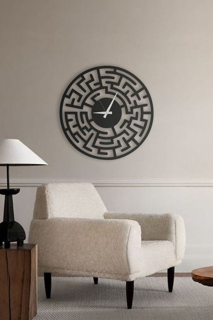 Maze Large Wall Clock Silent Wall Clock Farmhouse Wall Clock Rustic Wall Clock Roman Numerals Metal Wall Clock Housewarming In 2020 Living Room Clocks Large Wall Clock Minimalist Wall Clocks #standing #clocks #for #living #room