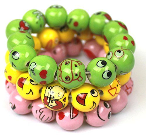 Make a statement with these unique cheerful ceramic bracelets! They make wonderful teen party favors and fun gifts. Glazed shiny bright beads have fun emoji prints. Wear all three at the same time or in combinations of two, or even just one. Great for any occasion, a fun accessory for your spring, summer outfit. Set …