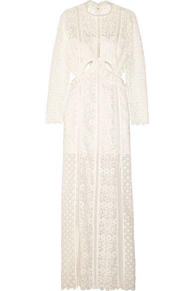 Self-Portrait - Ruffled Cutout Guipure Lace Gown - White - UK10