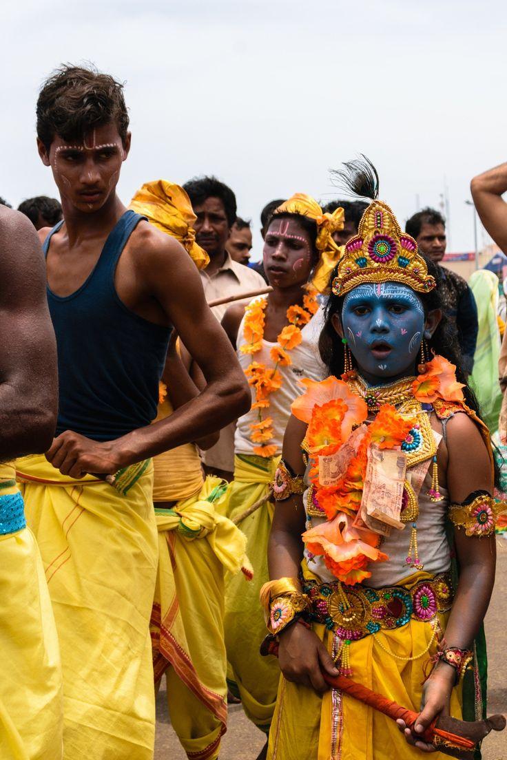 Krishna Avatar - Shot on the streets in Puri, Orissa, India, a child dressed as Krishna during the Ratha Yatra Festival.