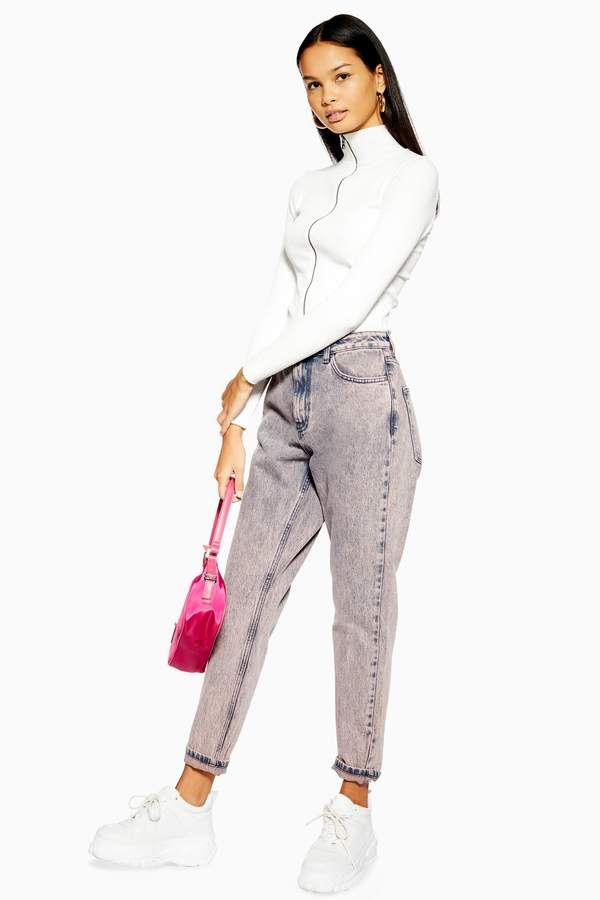 51e66cf99 Topshop Peach Acid Wash Mom Jeans in 2019 | Products | Mom jeans ...
