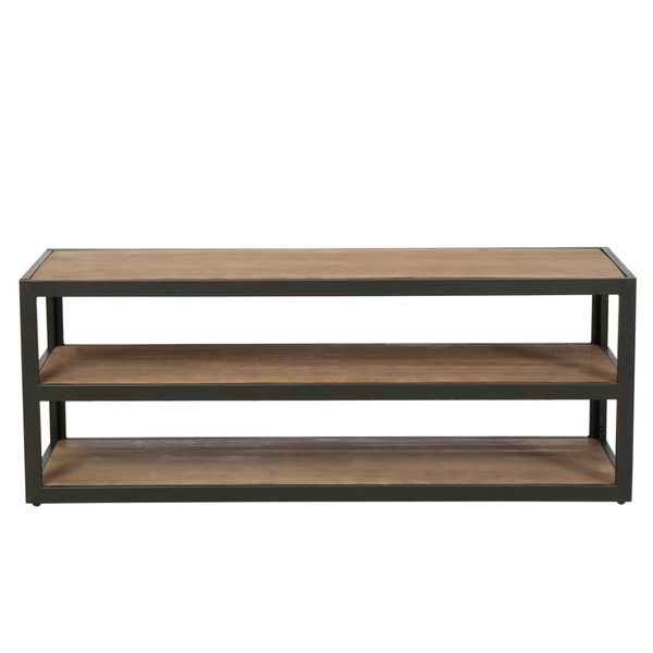 22 inches high x 58 inches wide x 19.50 inches deep - $276.49 - Christopher Knight Home Perth 3-Shelf Industrial Entertainment TV Console Stand with Shelf