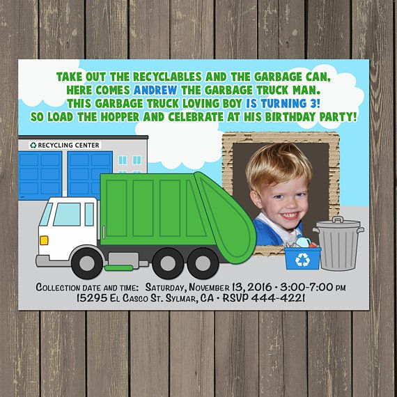 Garbage Truck Invitation, Garbage Truck Birthday Party Invitation, Trash Truck Invite, Truck Birthday, Boys Birthday Theme, Photo Invitation