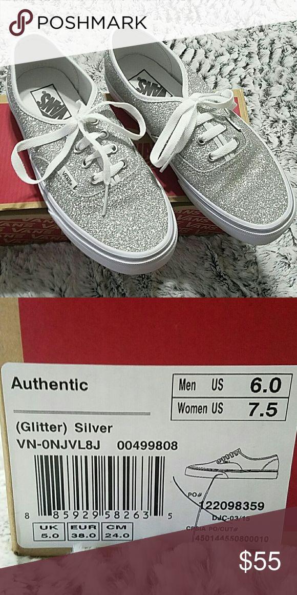 70fa42876fde Silver glitter vans Women's size 7.5 vans Shoes Sneakers | My Posh Picks | Glitter  vans, Vans shoes women, Shoes