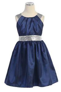 Flower Girl Dresses - Christmas Dresses - Flower Girl Dresses Discount Cheap Designer Dressforless - SK372 - Navy Taffeta Holiday Dress with Silver Trim $ 49.99 , 2-12