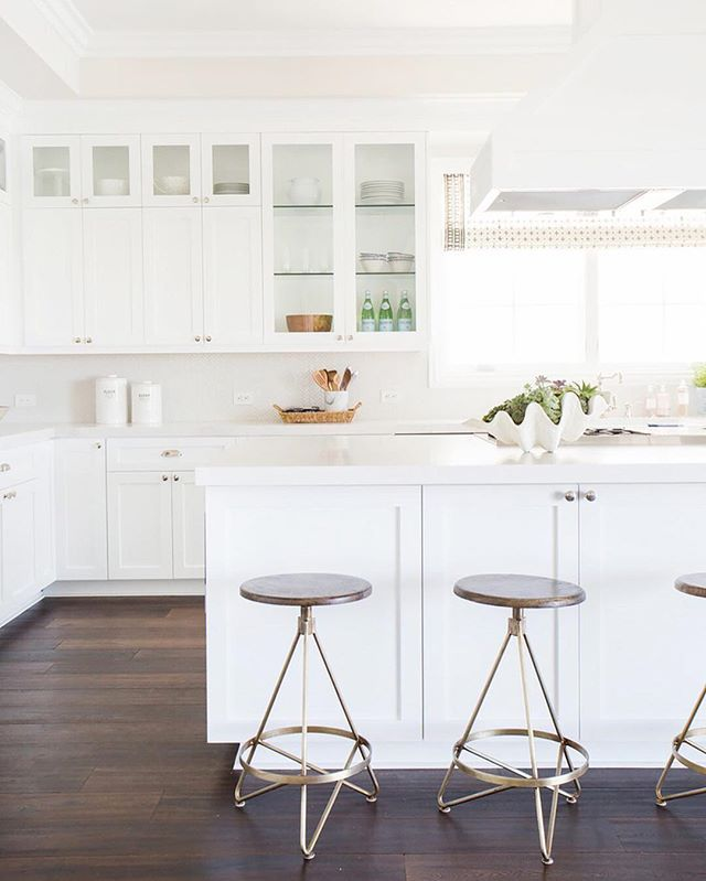 Call us basic, but we're BIG fans of an all-white kitchen. Double-tap if you are too.| Photo: @TessaNeustadt for @StudioMcGee