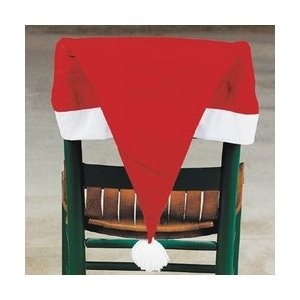 Set Of 4 Santa Hat Chair Covers Xmas Christmas Holiday