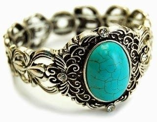 Bohemian Jewelry - Dorothea's Vintage Style Turquoise Stone Stretch Bracelet