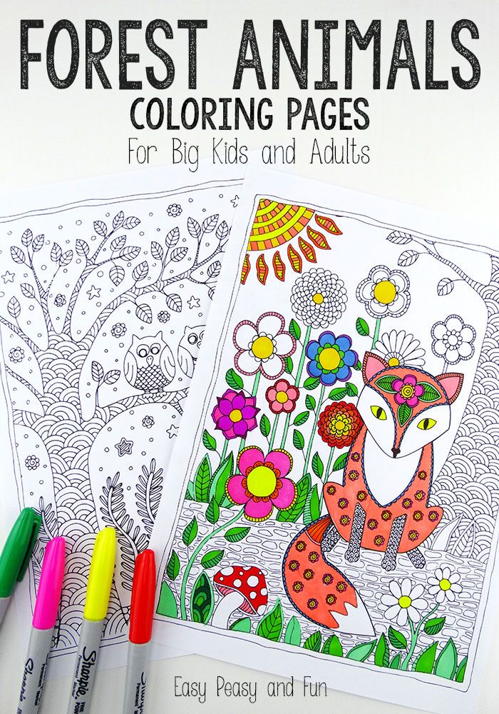 Forest Animals Coloring Pages - Easy Peasy and Fun