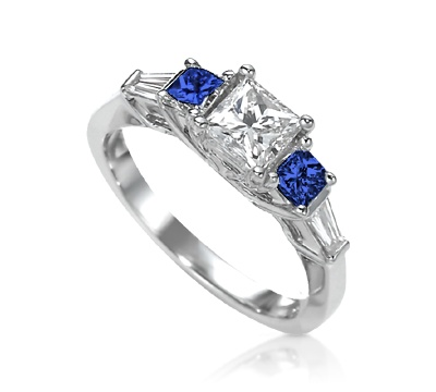 Princess Cut Engagement Ring with Sapphire Sides & Baguette Accent