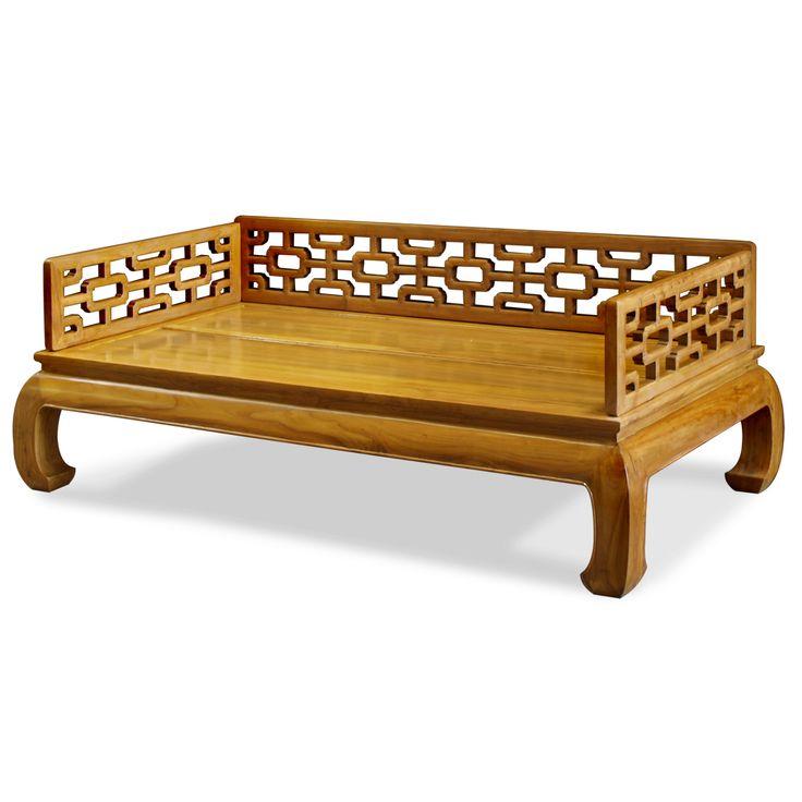 Elmwood ming design day bed hand carved elmwood natural for Asian furniture emeryville ca