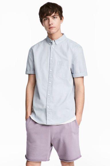 標準剪裁短袖襯衫 - Light blue/Chambray - Men   H&M 1