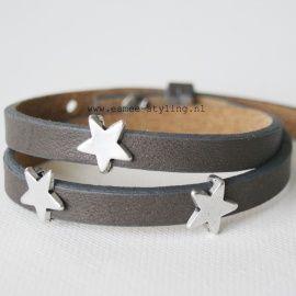 Leren armband bruin/grijs