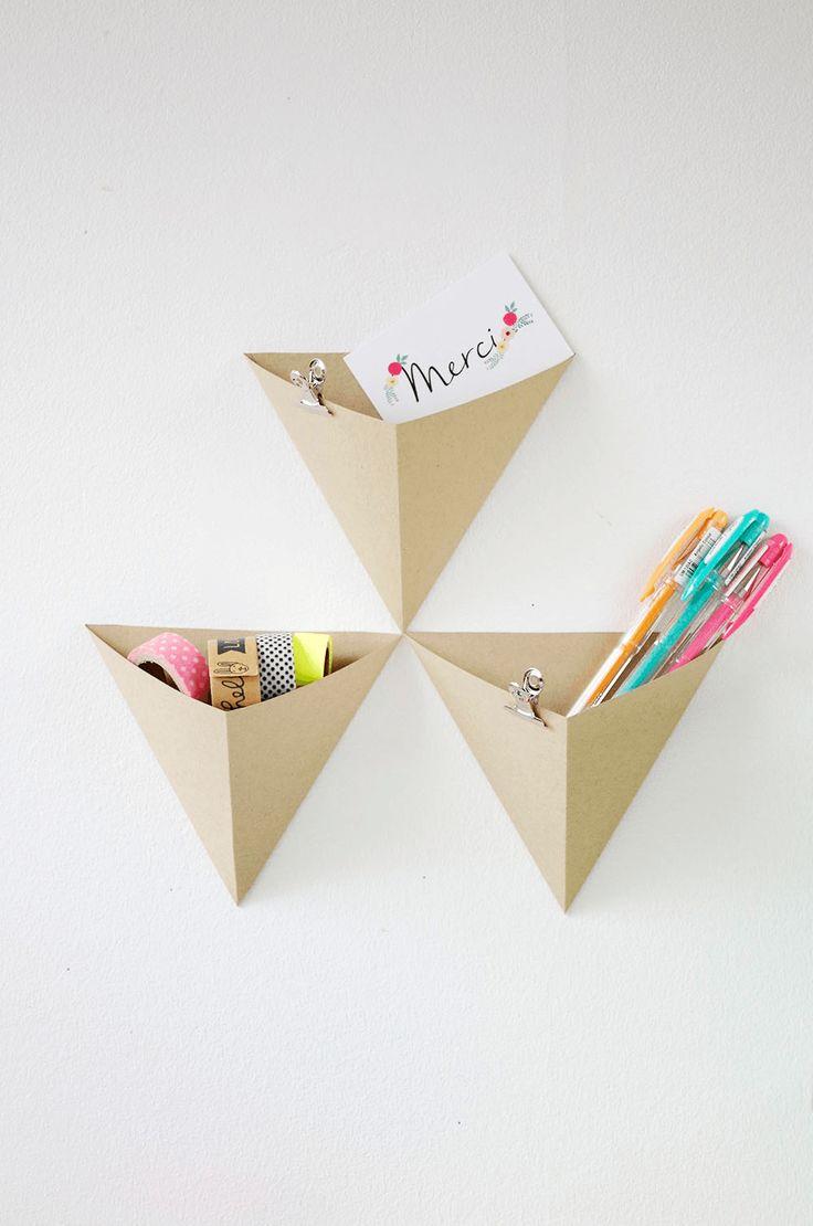 {DIY} Des rangements géométrique pour mon bureau - Un pliage origami simple pour un bel effet !