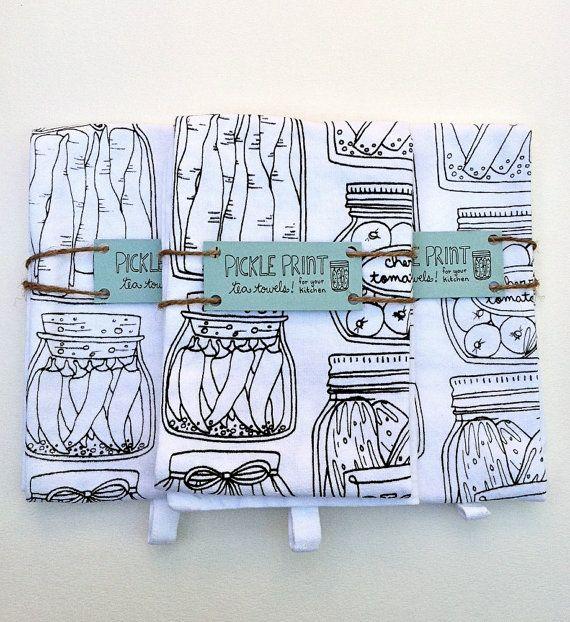 Pickle Print Tea Towel by thelittlecanoe on Etsy, $15.00
