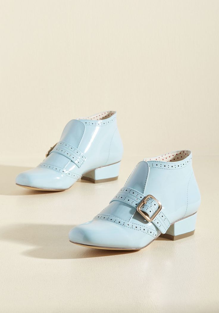 Showcase Your Strut Bootie in Sky Gloss in 6, #ModCloth
