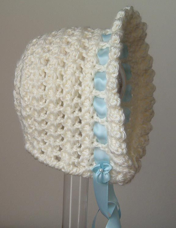 Crochet Star Stitch Hat Free Pattern : Star Stitch bonnet size 6 to 9 months Crocheted Baby/Kid ...