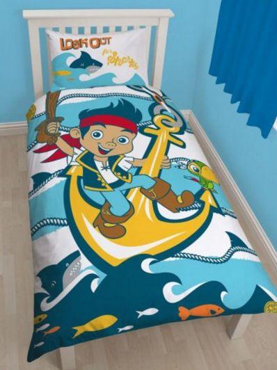 """ΠΑΙΔΙΚΟ ΔΩΜΑΤΙΟ - Παπλωματοθήκες - Κουρτίνες :: Παιδικές Παπλωματοθήκες :: Παιδική Παπλωματοθήκη JAKE And The NEVERLAND PIRATES - Τζέικ και Πειρατές Σετ Αναστρέψιμη Σχέδιο """"Sharks"""" - www.memoirs.gr"""
