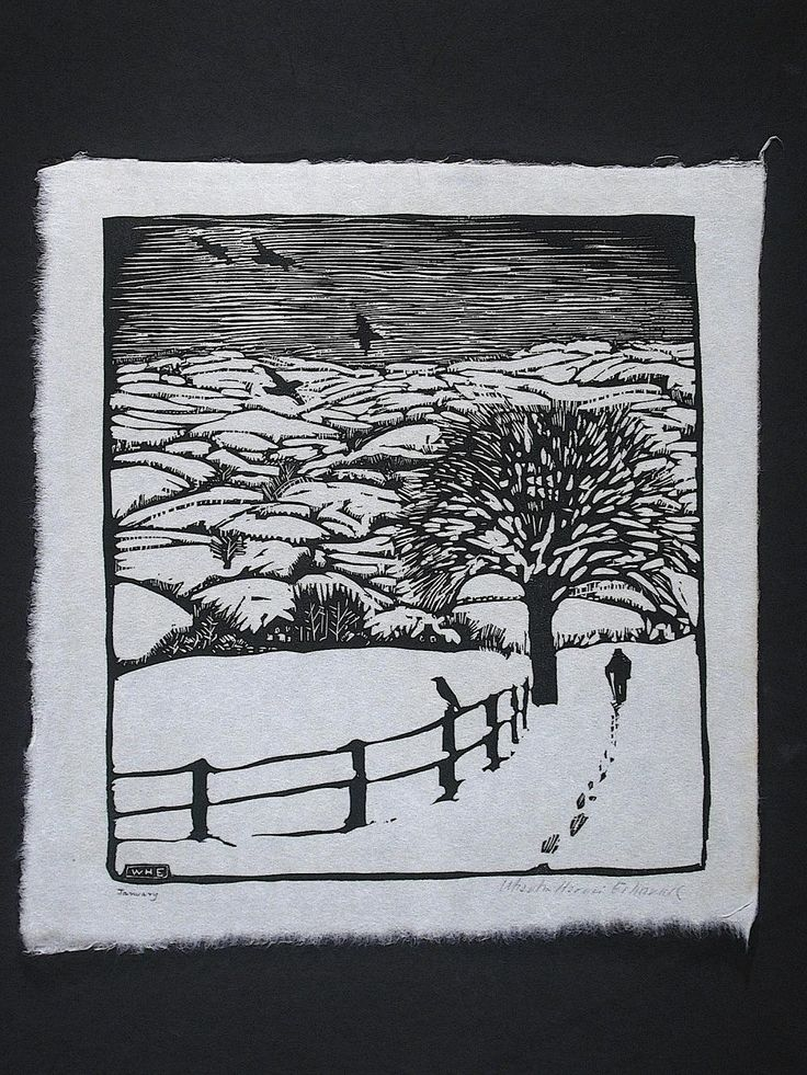 January wharton esherick woodcut image size 9 1 4 x 8