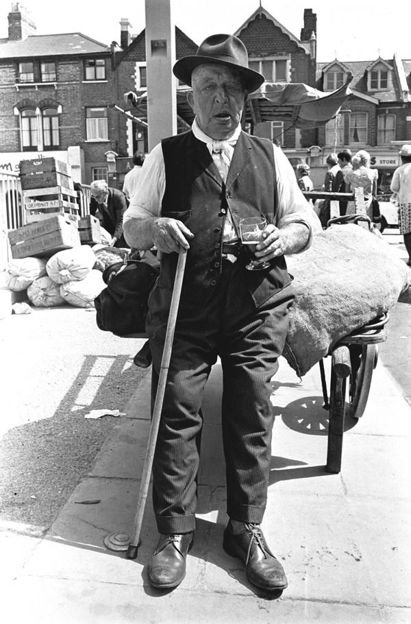 A street trader from the 1960s, (from London's East End, a 1960s album). Photo by Steve Lewis.