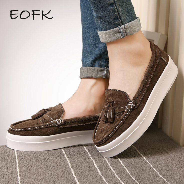 Cheap loafers moccasins, Buy Quality moccasins brand directly from China brand women flats Suppliers: EOFK Women Platform Shoes Creepers Loafers Moccasins Slip On With Fur Suede Brogue Tassel Chaussure Femme Flats Shoes Woman