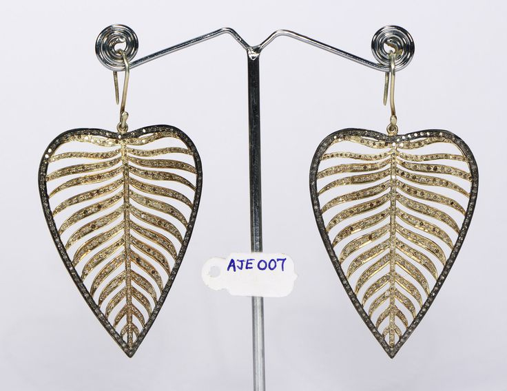 HOLIDAY SPECIAL PRICE Handmade Designer  2-tone Women Big Dangling Leaf Design Gold Plated Earrings .925 Sterling Silver Pave Diamonds by AcmeJewels on Etsy