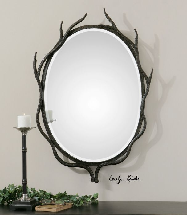 frame is made of hand forged metal shaped to resemble twigs - Metal Mirror Frame