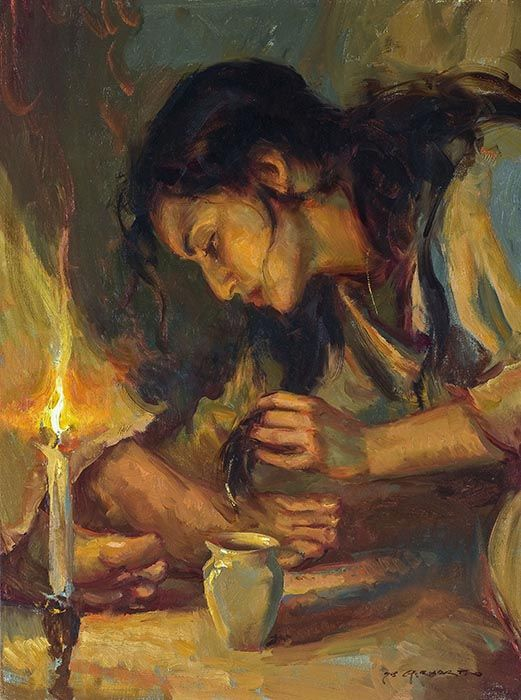 Mary of Bethany anointing Jesus' feet with nard and wiping them with her hair by  DANIEL F. GERHARTZ
