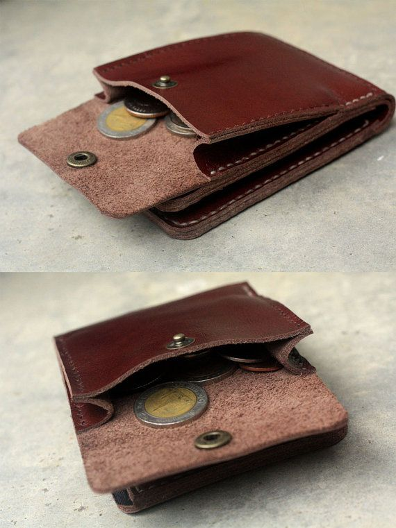 This clay brown leather wallet have 6 card slots for credit cards, money and mini coin pocket on the back. Hand stitch with wax cord all of