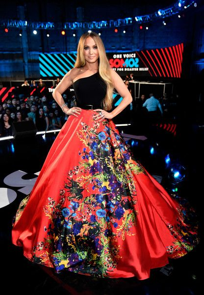 Jennifer Lopez One Shoulder Dress - Jennifer Lopez wowed in a Romona Keveza one-shoulder gown with a voluminous floral skirt at the 'One Voice: Somos Live!' concert.