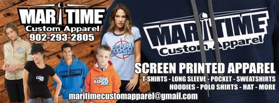 Maritime Custom Apparel is an innovative and exciting screen printing company that provides you, our valued customer, with an opportunity to create and customize your own T-Shirt, Hoodies, Cap and other apparel items. Don't have time? Simply call us and we will take care of everything for you!   We take great pride in our services and look forward to hearing from you.