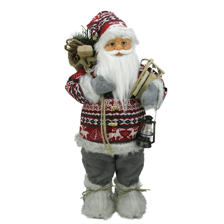 """24"""" Nordic Standing Santa Claus Christmas Figure with Snow Sled and Gift Bag"""
