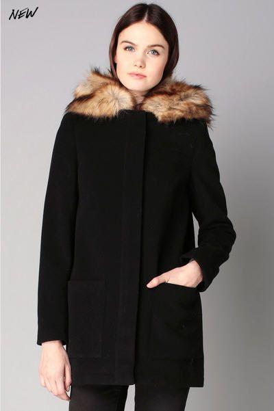 Manteau noir drap de laine col fausse fourrure Ahood Naf Naf prix promo Manteau Femme Monshowroom 149.00 €