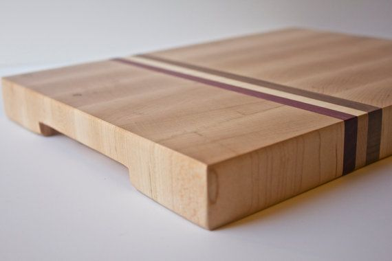 Medium Rectangle EndGrain Cutting Board Made of Maple with Purple Heart and Walnut Accents by 7MWoodworking, $85.00. #Handcrafted #Chicago #gift #kitchen #cook #prep #food #recipe #craftsmanship #cutting #board #cheese #natural #ecofriendly #accessory #housewarming #wood