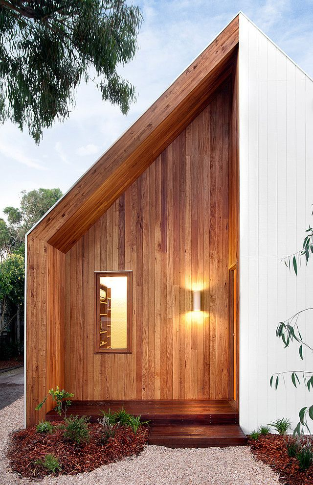 Timber and weatherboard + eaves