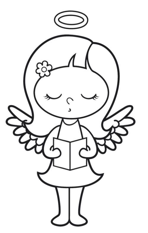 Engel: Singender Engel zum Ausmalen