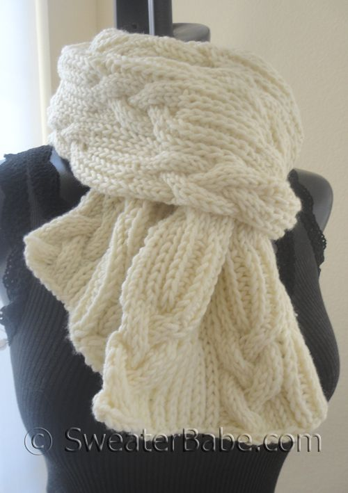 PDF Knitting Pattern for Chunky Cables and Ribbing Scarf from SweaterBabe.com