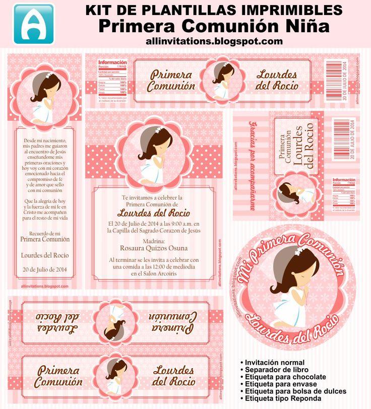 Kit imprimible para primera comunión de niña en en tono salmon