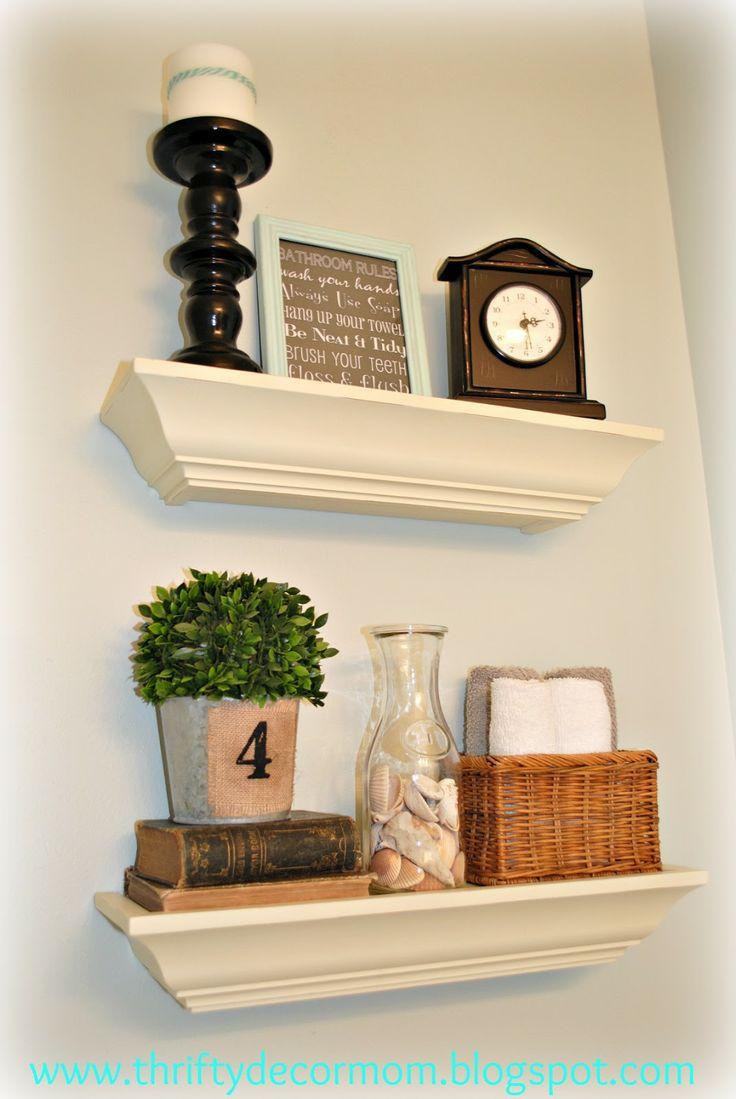 thrifty decor mom guest bath i like the idea of putting shelves above the tolilet area - Shelf Decor