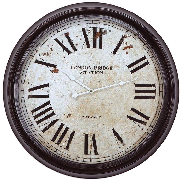 Circular Iron Wall Clock in Distressed Black Frame and Roman Numerals 25 Inch #WallClock  #Black  #Analog #Clock  #Home #Office #Kitchen #Dining #HomeDecor #Decor #WallHang #WallDecor #Wall