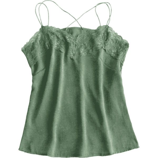 Lace Panel Cami Top (59 PEN) ❤ liked on Polyvore featuring tops, cami tank, green top, green cami top, green camisole and camisole tank
