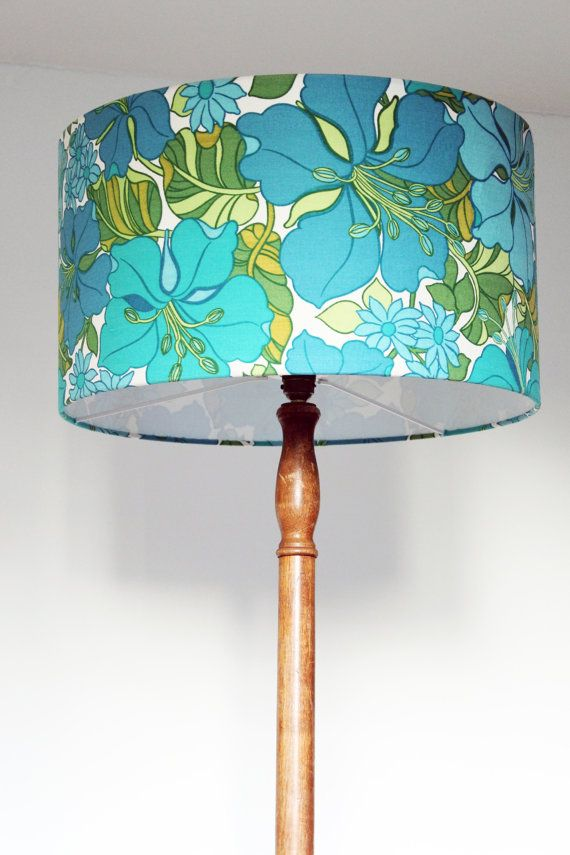 22 best new collection vintage fabric lampshades images on vintage 1960s fabric lampshade handmade turquoise exotic flowers aloadofball