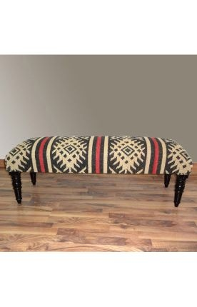 Rugs USA Benches Southwestern Aztec Upholstered Wooden Bench Multi