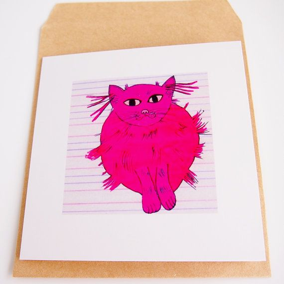 pink cat illustrated card, bithday card her, cat lover birthday card, cat card, graphic card, girlfriend card, cute  card, pink, kitch card,