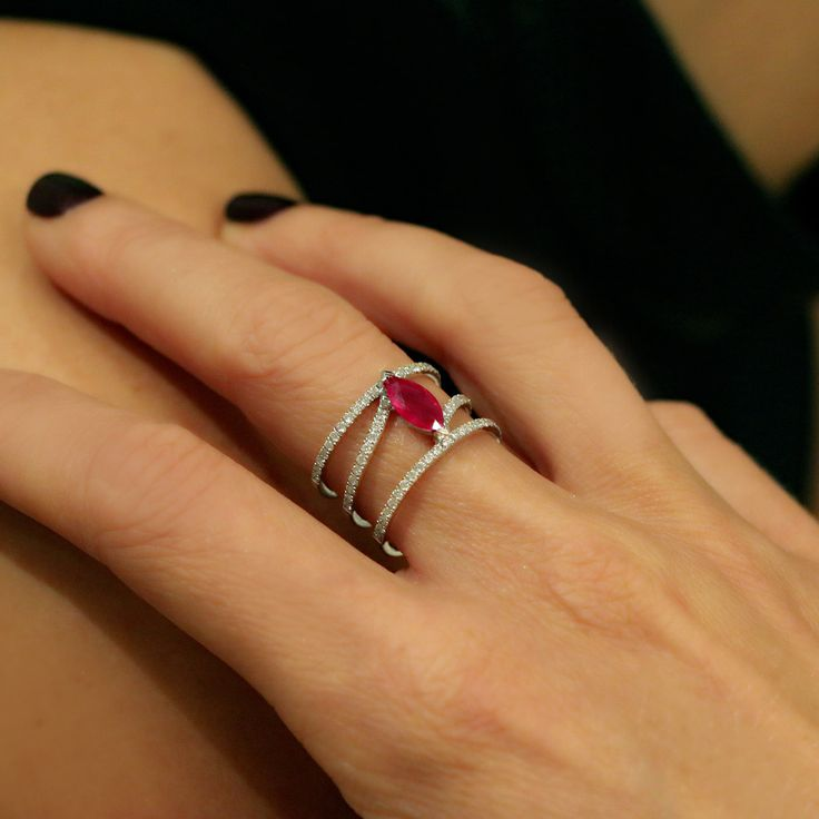 """Linee Misteriose"" Ruby Multi Band Ring - Shop Fine Jewelry Online 