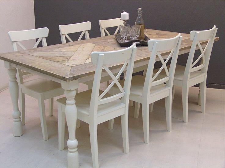 Tafel ISABEL mozaiek blad steigerhout met white-wash onderstel (13112013)