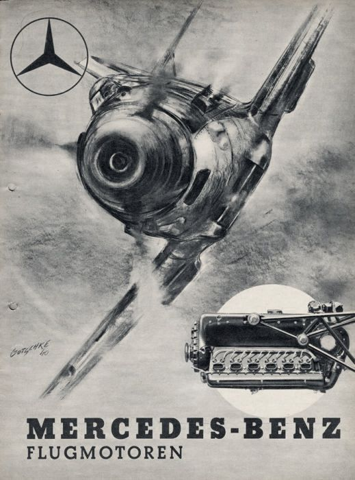 A 1940 Mercedes-Benz advertisement for aircraft motors.  The Messerschmitt Bf-109 fighter and its Daimler-Benz 605 inline engine are depicted.