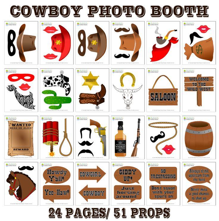 Printable Cowboy Photo Booth Props/ Cowboy Party Props